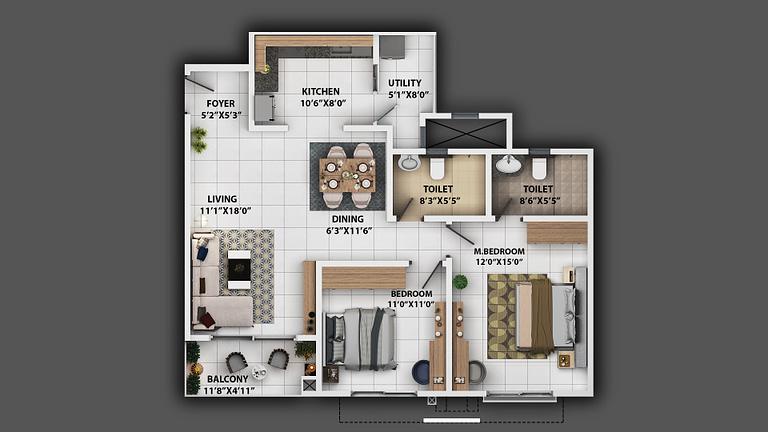 2BHK_1232_2d floor plan