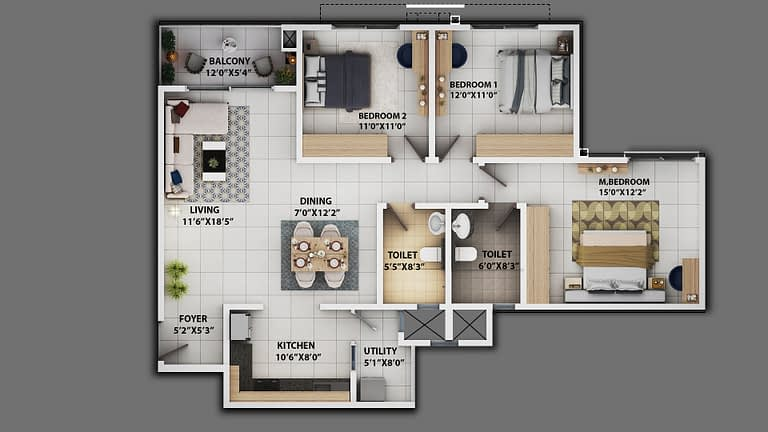 3BHK_1482_2d floor plan